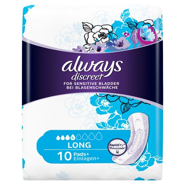 ALWAYS SAN TOWELS DISCREET PADS LONG 10 - 3872843