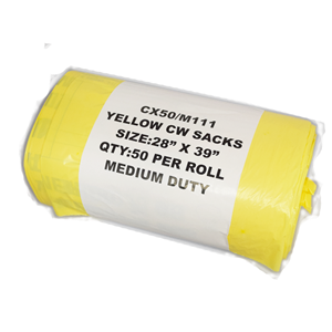 Yellow Clinical Waste Bags Medium 90L 50 AHP3006